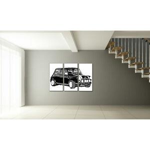 Ručně malovaný POP Art Mini Cooper 3 dílný 120x80cm