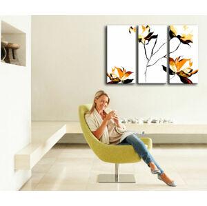 Ručně malovaný POP Art Flower 3 dílný 120x80cm