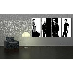 Ručně malovaný POP Art U2 IN BLACK 4 dílný 160x80cm