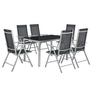 Zahradní nábytek Milano, 7-dílný, se stolem a 6 stříbrnými židlemi