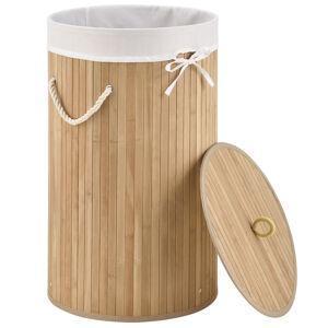 Bambusové koš Curly na prádlo kulatý, natur, s pytlem na prádlo a s ušima na prenášání