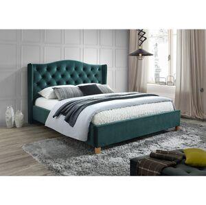Čalouněná postel ASPEN VELVET 180 x 200 cm barva zelená / dub