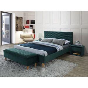 Čalouněná postel AZURRO VELVET 160 x 200 cm barva zelená / dub