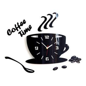 Moderní nástěnné hodiny COFFEE TIME 3D BLACK NH045-black