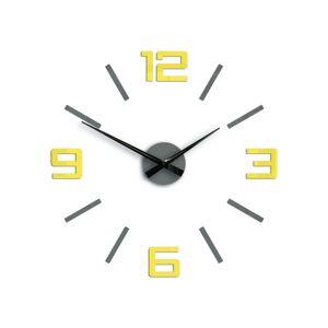 Moderní nástěnné hodiny SILVER XL GREY-YELLOW HMCNH065-greyyellow