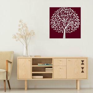 Obraz Bordový Strom na zrcadle Mirrora 54 - 50x50 cm