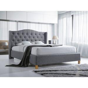 Čalouněná postel ASPEN 140 x 200 cm barva šedá / dub