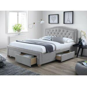 Čalouněná postel ELECTRA 160 x 200 cm barva šedá / dub