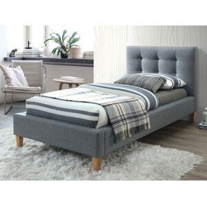 Čalouněná postel TEXAS 90 x 200 cm barva šedá / dub