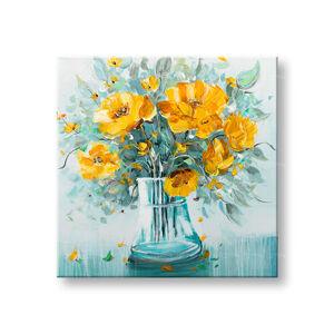 Malovaný obraz na stěnu KVĚTINY VE VÁZE 1 dílný CWF1857WE1 - 70x70 cm